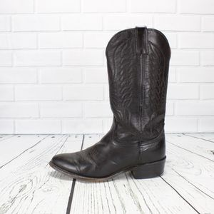 Durango Black Leather Western Moto Boots Size 8.5
